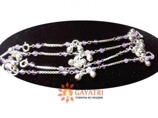 Серебряный браслеты-колокольчики с натуральными камнями в ассортименте. (аметист, топаз, гранат, горный хрусталь)