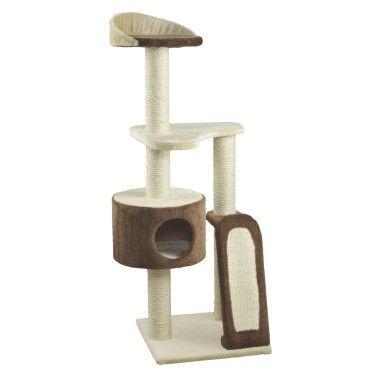 Arbre à chat - jardiland (Arbre à chat à étage, base étroite / en longueur , couleur beige / blanc / rouge)
