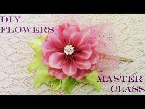 DIY Kanzashi flores moños en cintas de raso y organza - flowers in organza and satin ribbons - YouTube