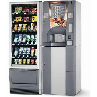 Distributore automatico combinato caldo/freddo. Per gustare un caffe', una cioccolata o una bevanda fresca, uno snack.