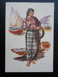 Stamps, covers and postcards of traditional/folk costumes: Postcards / Costumes - Portugal / Portugalija. Nazare