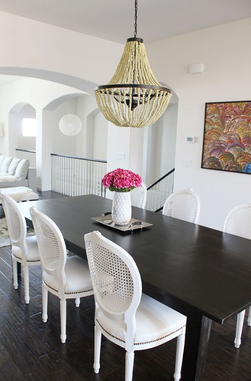 Dark Table White Chairs, Dark Wood Dining Room Table With White Chairs