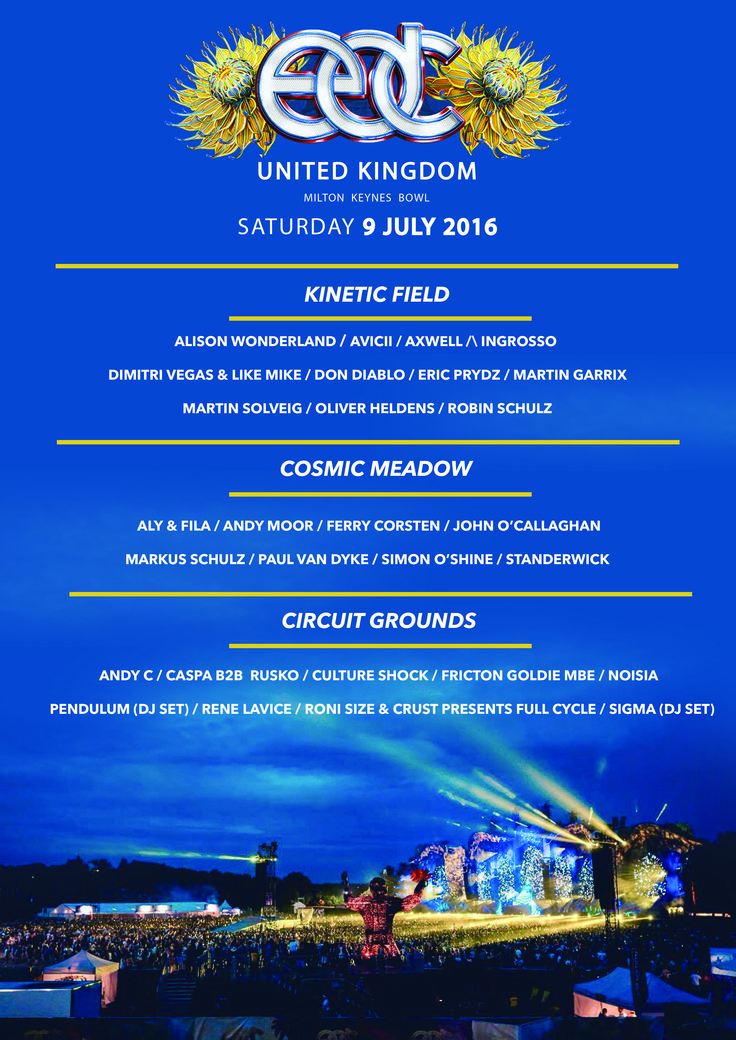 My own design for the EDC UK 2016 festival couldn't fit all of the lineup onto the page