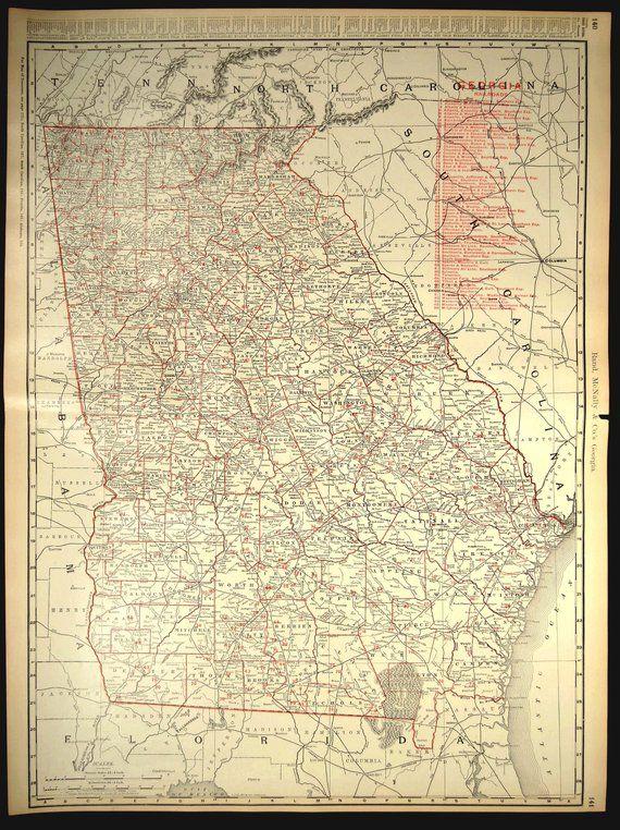 Railroad Map Of Georgia.Georgia Map Of Georgia Extra Large Georgia Wall Art Decor Railroad