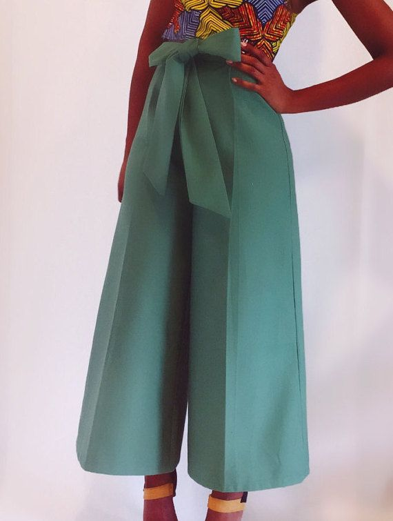 Highe Waist culotte pants with a bow by NigerianHippie on Etsy