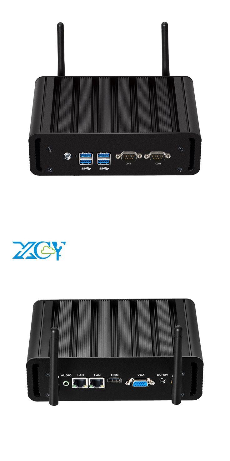 XCY Fanless Mini PC Windows 10 Intel Core i7 5500U i5 5200U i3 5005U Dual Ethernet Ports Dual COM Serial Ports HDMI VGA WiFi