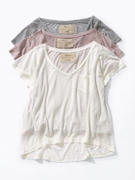 DRWCYS (ドロシーズ)  テンセルカシミヤVネックTシャツ  7,020円(税込)