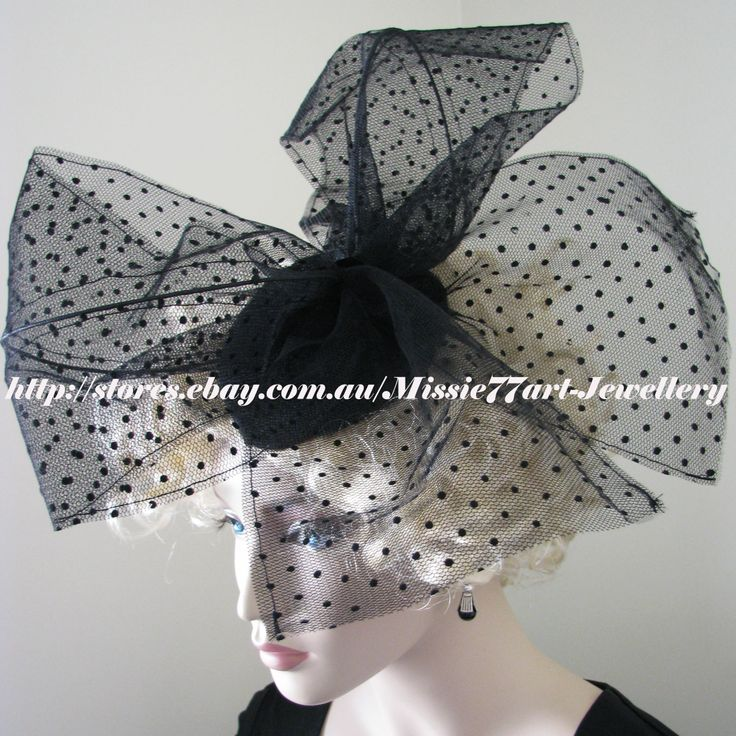 Perfect for the races: Velvet & Net Vintage Inspired Black Polka Dot Bow Fascinator Hat - Horse Racing by Missie77art Jewellery on ebay