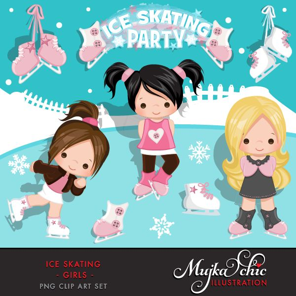 Ice Skating Party Girls Clipart Instant Download Winter Outdoor Graphics Ice Skating with cute characters