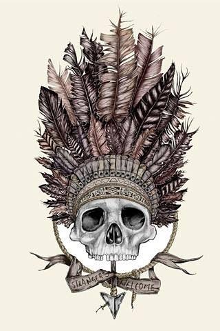 Tête de mort Plumes Illustration