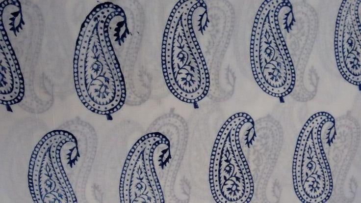 5 Yard Handmade Indian Block Printed 100% Cotton Natural Blue Paisley Fabric