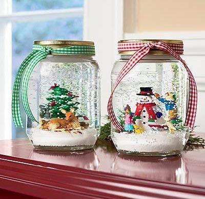mason jar christmas crafts | DIY Holiday Craft - Mason Jar Snowglobes | Crafts