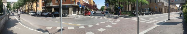 T intersection in Bologna with bike path and pedestrian crossing #iItaly #cycle_path #junction #pedestrian #zebra_crossing #design