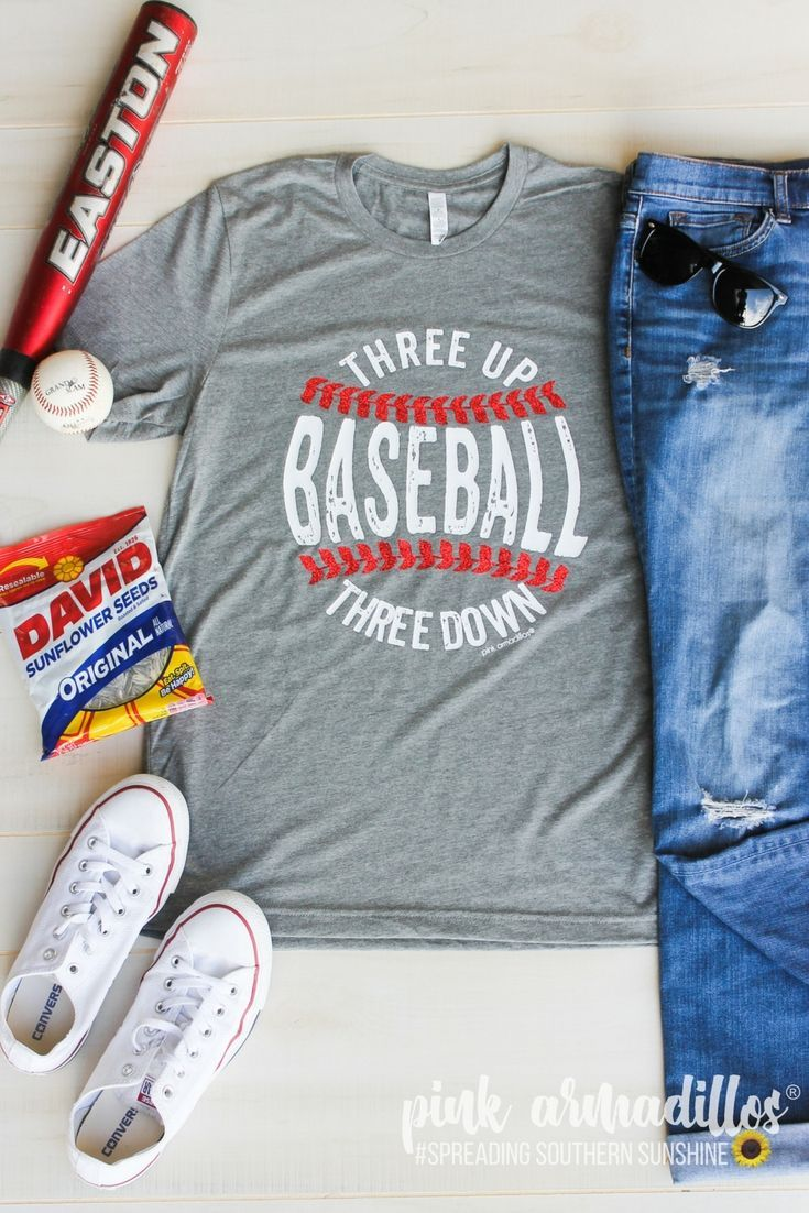 0def97670 Three Up Three Down Baseball tee on a super soft grey unisex fit tee is  super cute with red glitter laces! This cute graphic tee is perfect for all  the ...
