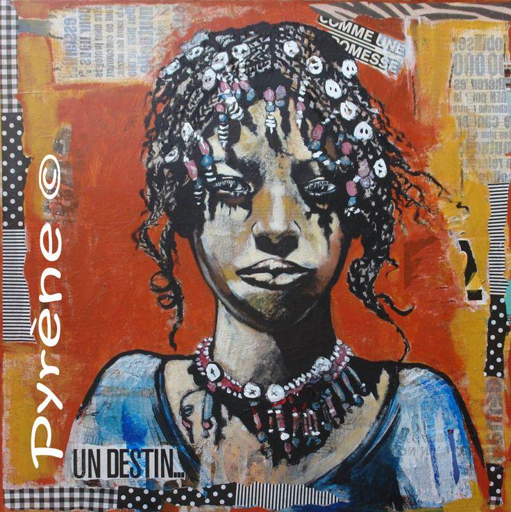 """""""La petite Peule"""" technique mixte sur toile 60x60 cm      http://www.artmajeur.com/helene-py/    http://wizzz.telerama.fr/azurwizzz     https://www.facebook.com/pages/H%C3%A9l%C3%A8ne-Py/483215725063037   &     http://helene-py-pyrene-peinture-ecriture.over-blog.com/"""