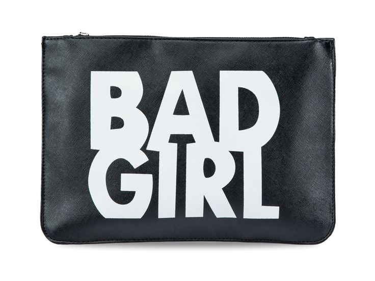 """BEST DEAL for new year! Bad Girl Clutch by Something Borrowed. Black clutch with white """" Bad Girl """" typography. This bad girl clutch made from synthetic leather, zipper closure, one main compartment, inner pocket, adjustable chain strap shoulder, strap length 58 cm.    http://www.zocko.com/z/JI8yg"""