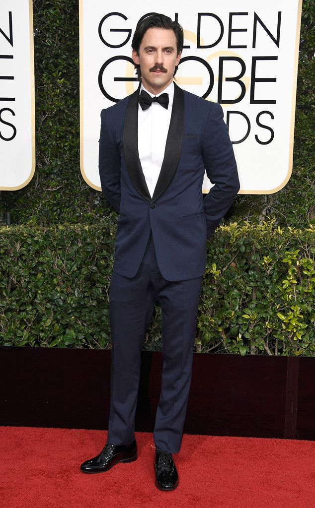 Milo Ventimiglia from 2017 Golden Globes Red Carpet Arrivals  In Ralph Lauren