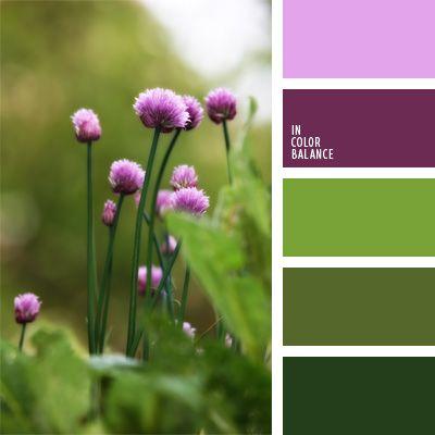 color verde hierba, colores contrastantes, colores fuertes, colores pantanosos, combinación contrastante, selección de colores, tonos malva, tonos verdes, tonos violetas, verde fuerte.
