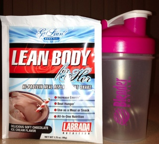 Within 30 minutes of working out, I drink a protein shake (protein powder and water). 1 package of Lean Body For Her with 8 oz of water.