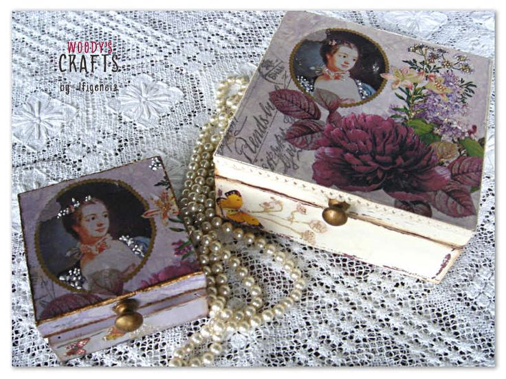 Wooden handmade set of jewelry boxes | Decoupage Art | Woody's Crafts by Ifigeneia