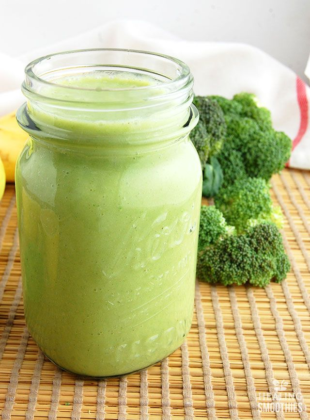 In this broccoli smoothie you'll not only get the Vitamin C and fiber from broccoli, but also the vitamins and minerals from banana, apple, and pineapple.