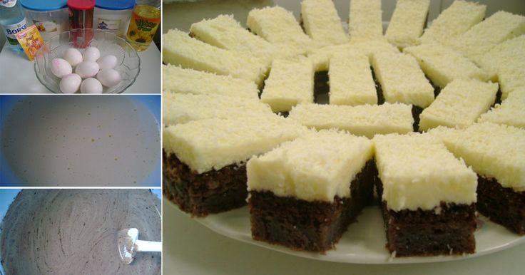 Ingrediente Pentru Blat: -5 linguri de făină, -4 linguri de cacao, -9 linguri de zahăr, -1 praf de copt, -8 ouă, -125 ml apă minerală, -3 linguri de ulei Pentru