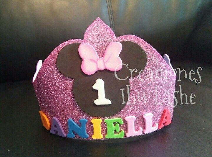 Corona de cumpleaños de Minnie bebe Primer año