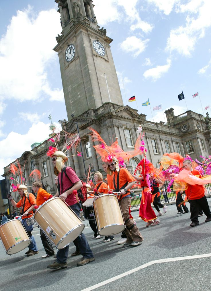 South Tyneside Summer Parade going past South Shields town hall.