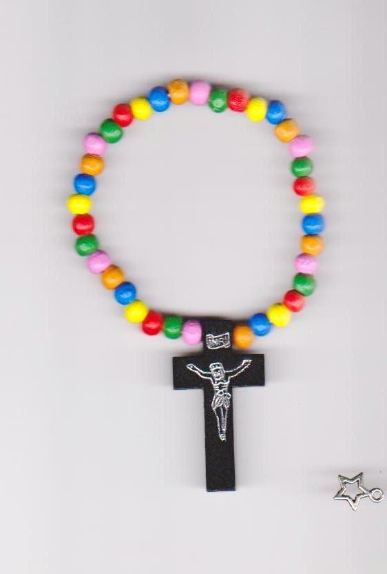 Rainbow Cross Stretch Bracelet  Wood by TiStephani on Etsy