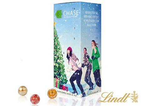 Adventskalender-Turm LINDT mit hochwertiger LINDT-Schokolade, 5 bedruckbare Seiten für Ihre Firmen-Werbung.