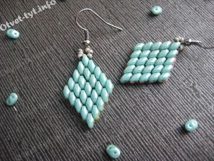Step by step picture instructions for twin-hole bead earrings. Mostly pictures, translate if you will. #Seed #Bead #Tutorials