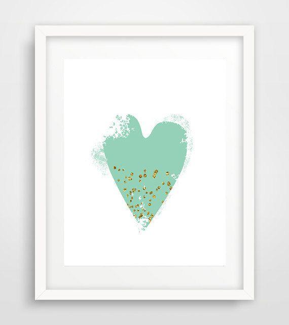 Mint confetti heart print, mint heart print, printable heart art, heart wall…