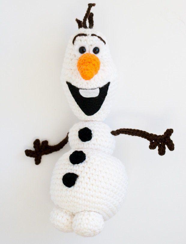 Amigurumi Frozen Olaf Açıklamalı Modeli Malzemeler Beyaz, turuncu, kahverengi iplik İşaretleyici 9 mm amigurumi emniyetli göz Elyaf Makas İğne 2.5 mm tığ