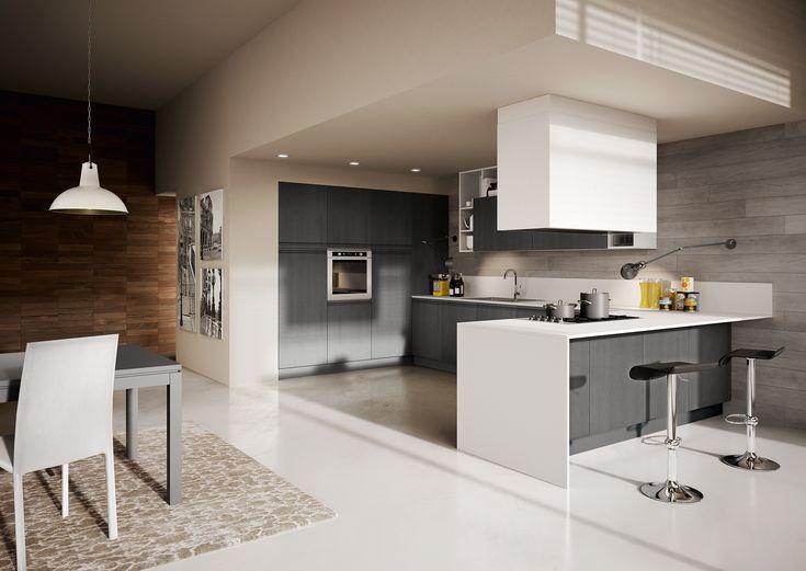 Berloni cucina canova rovere grigio laccato bianco calce lucido live your kitchen - Berloni cucine moderne ...