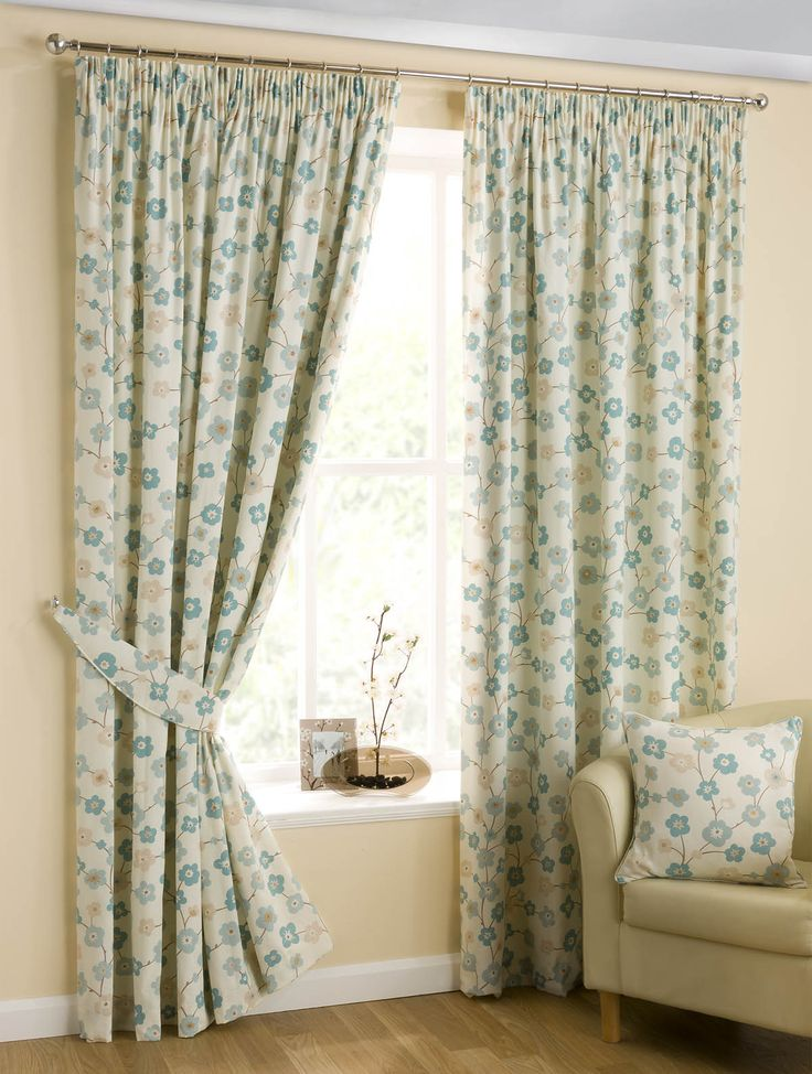 Japanese Blossom Ready Made Lined Curtains Duck Egg Blue | Pencil Pleat Curtains | Cheap UK Delivery