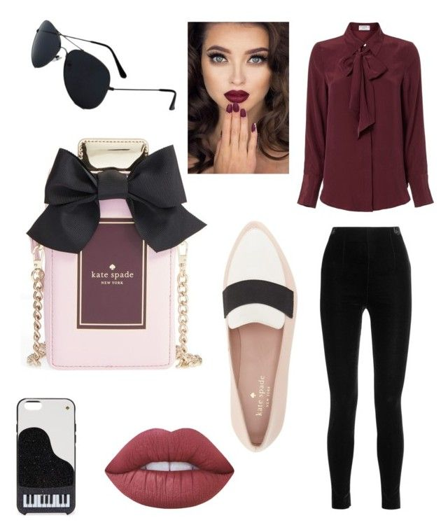 """""""Untitled #7"""" by salapopo on Polyvore featuring Frame Denim, Balmain, Kate Spade and Lime Crime"""