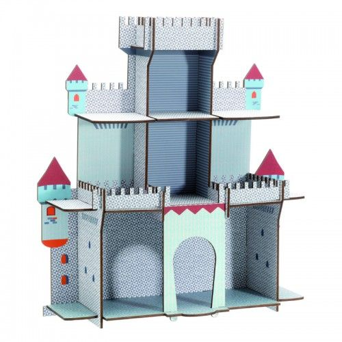Suited for the young knights in the family, this shelf features three levels of castle floors to store objects.  Designed in the shape of a castle, this shelf is made from easy to construct ply.