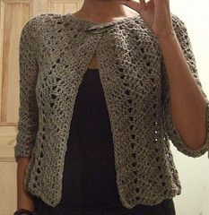 Chevron Lace Cardigan by Ravelry user milobo, also available free on the Without Seams blog. Sizes up to 48 inch bustline, no ease.
