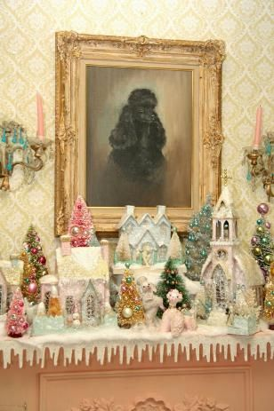Vintage Poodles and Pastel Pink Putz Houses and Bottle Brush Christmas Trees