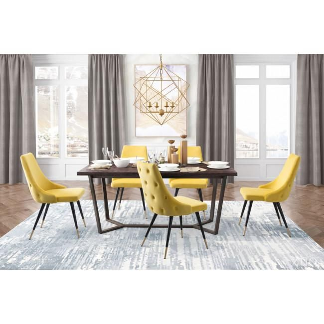 Piccolo Dining Chair Yellow Velvet The Furniture Trend Dining