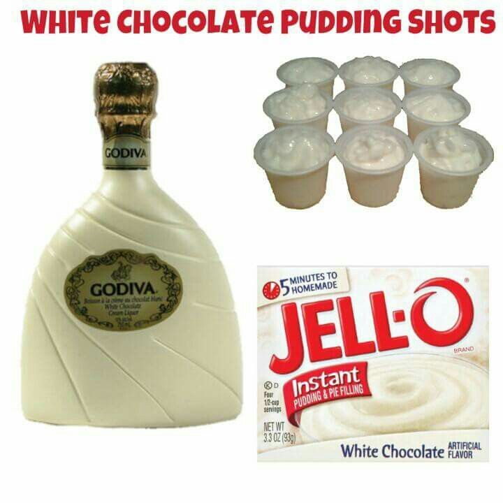 White Chocolate Pudding Shots  Sm instant White Chocolate Pudding 3/4c Milk (whole) 1/2c White Chocolate Liqueur 1/4c Vodka 4oz Cool Whip  yields approx 33  Whisk Whole Milk & Instant Pudding together until as thick as it will get (1-2 minutes). Once it has thickened, add Liquor and whisk until all lumps and clumps are gone.    Once the mixture is nice and smooth again, whisk in Cool Whip.  Fill almost ¾ of a 1oz plastic shot cup with the mixture, place your extra topping/garnish if called…