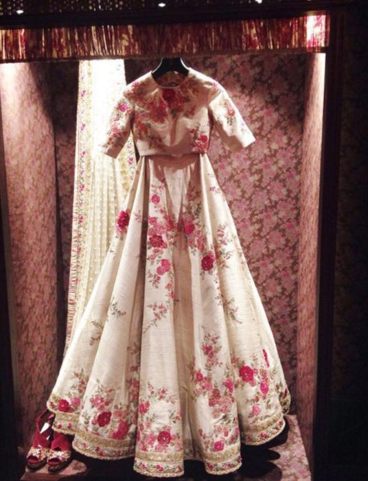Inside the store - Ivory floral red lehenga - Sabyasachi Spring Summer Weddings 2016 collection