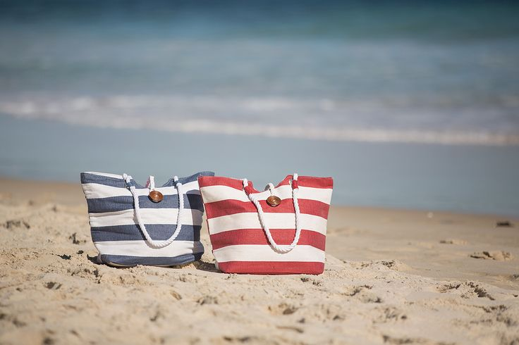 These beach tote's are the perfect size and they look great for heading to the beach.