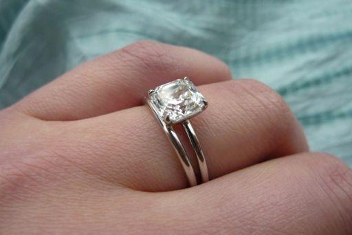 ring set with 2-carat asscher-cut diamond; a symmetrical asscher!