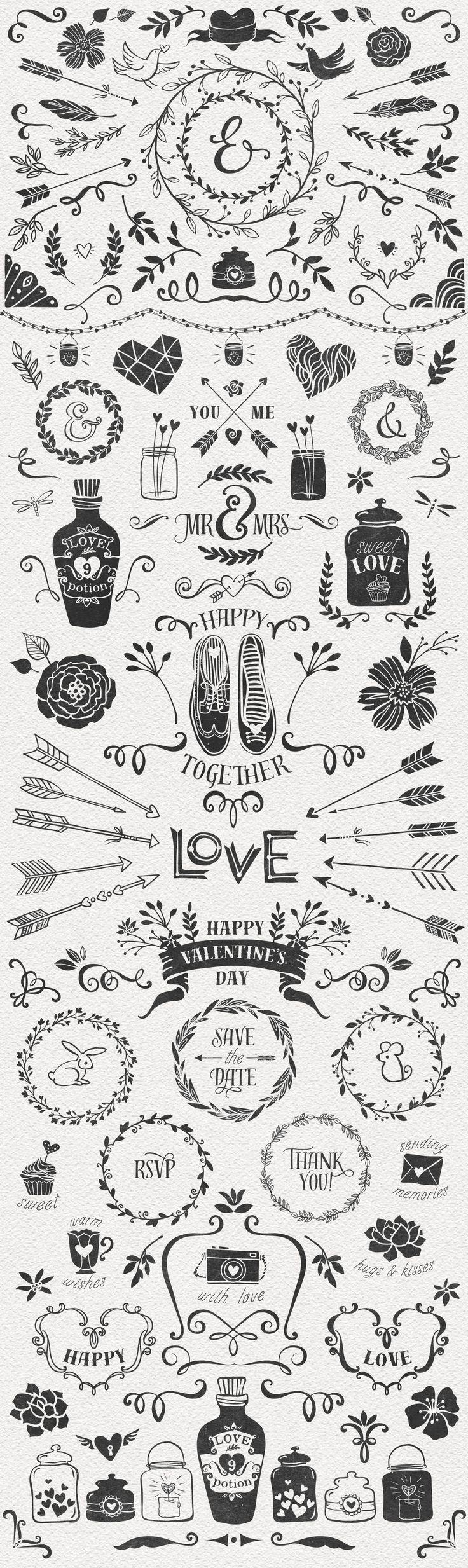 Hand Drawn Romantic Decoration Pack by kite-kit on @creativemarket