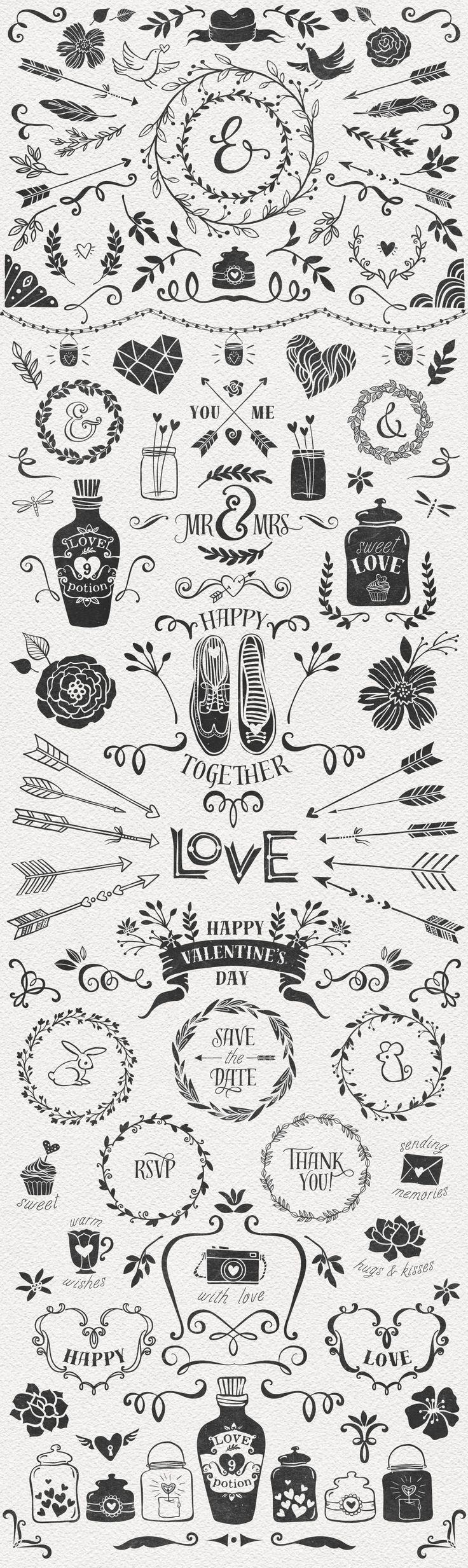 Hand Drawn Romantic Decoration Pack by kite-kit on @creativemarket