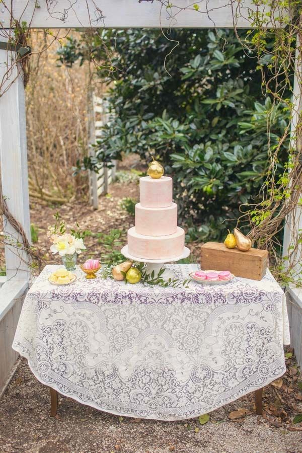 Vintage Lace for a Romantic French Country Inspired Wedding Cake Table| Amy Allen Photography | See More! http://heyweddinglady.com/french-country-chic-wedding-style/