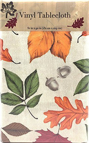 Fall Flannel Backed Vinyl Tablecloth Harvest Tablescape