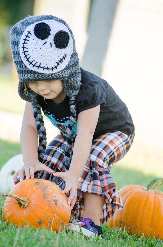 Crochet Jack Skellington Hat Skeleton Hat. Halloween crochet