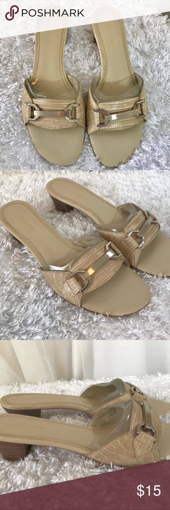 Liz Claiborne Tan Slip On Heels Gently used with no major flaws small chip on heel back 8.5 Medium Width   I ship Monday through Saturday, weather permitting. If you have a moment check out my other items. Thank you! Liz Claiborne Shoes Heels